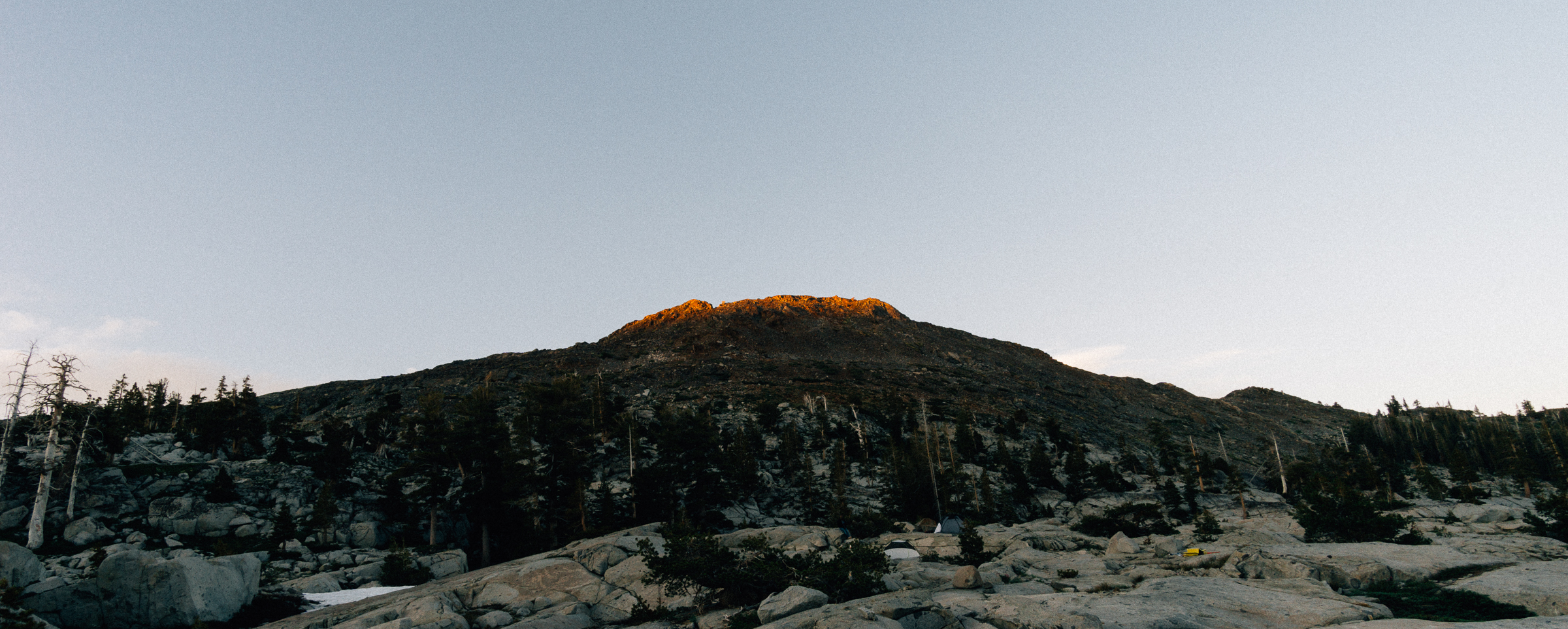 Last light on the peak behind our camp